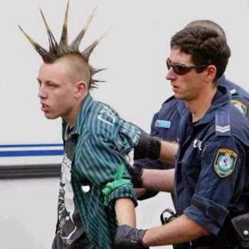 Punk getting arrested